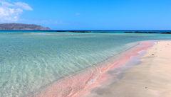 Den rosa sandstranden Elafonissi beach, Kreta.